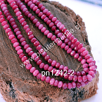 Agata rondell rosado oscuro de 4 mm, tira de 130 piedras aprox
