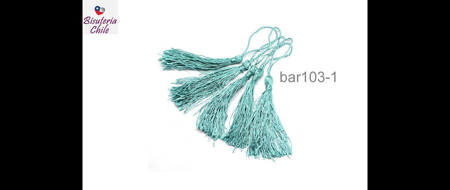 Borla larga color celeste aqua de hilo, 8 cm de largo, set de 4 unidades