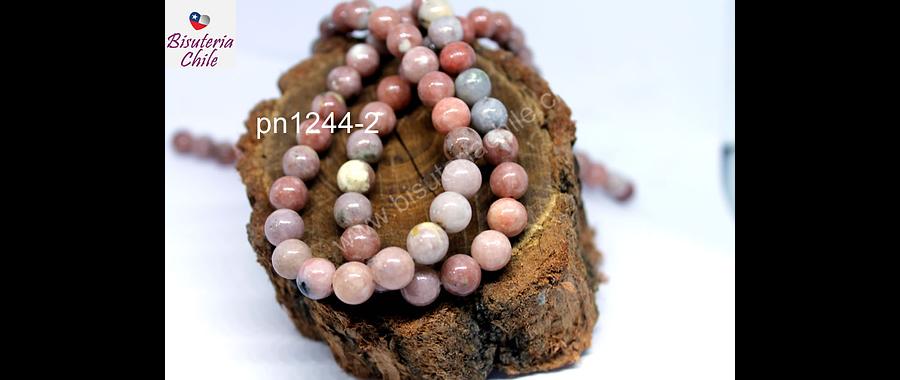Jaspe Plum blossom pink de 8 mm, tira de 46 piedras aprox