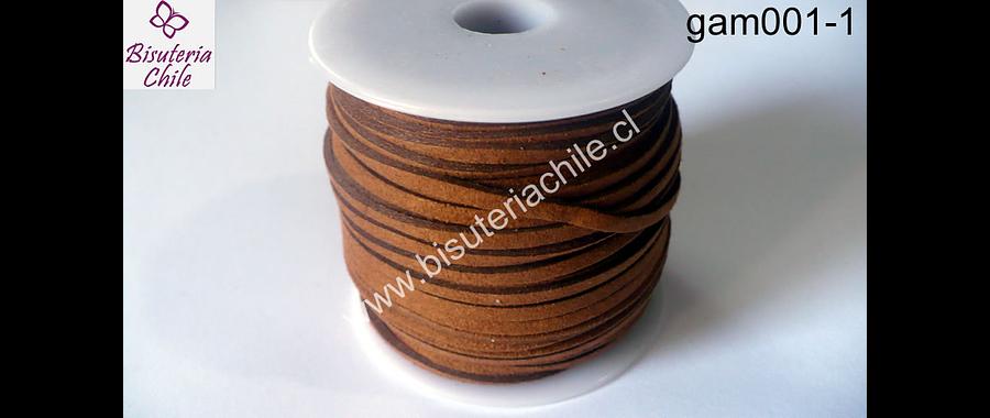 Gamuza café de 3 mm de ancho y 2 mm de espesor, por metro