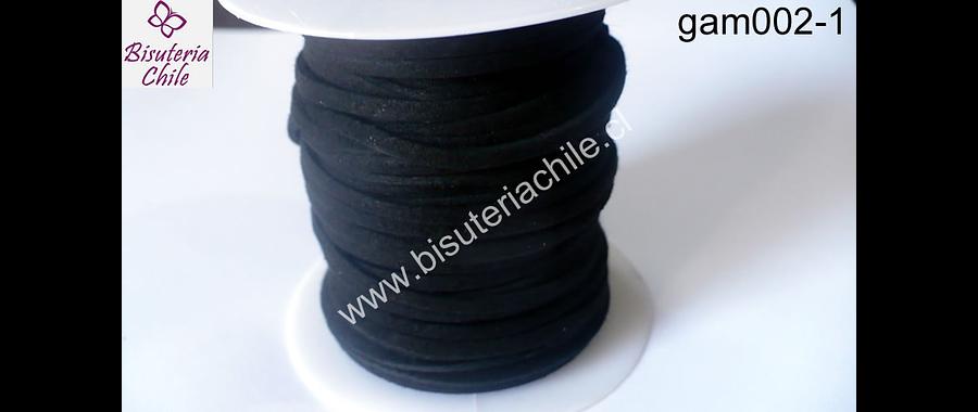 Gamuza negra de 3 mm de ancho y 2 mm de espesor, por metro