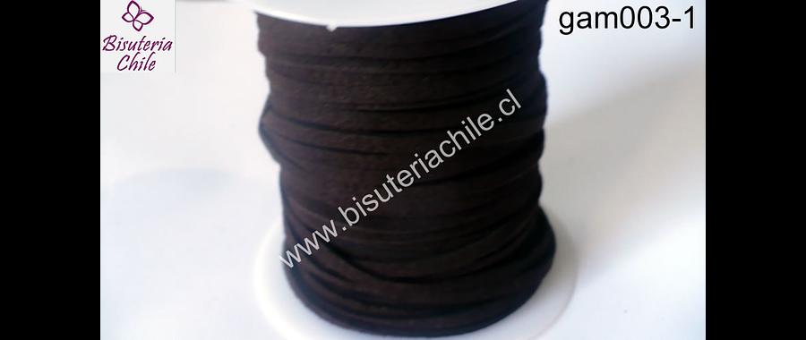 Gamuza café oscura de 3 mm de ancho y 2 mm de espesor, por metro