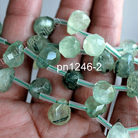 Prehnita en forma de gota facetada, 14mm de largo x 11 mm de ancho, set de 6 unidades
