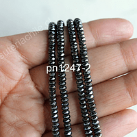 Hematite rondell negra facetada de 4 x 2 mm, tira de 175 piedras aprox.
