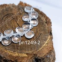 Cuarzo Cristal en forma de gota facetada, 12 mm de largo x 10 mm de ancho, tira de 14 piedras