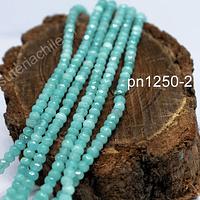 Agatas, Agata rondell color jade de 4 mm, tira de 130 piedras aprox