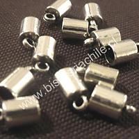 Terminal plateado con argolla de enganche 7 mm de largo, 6 mm de ancho y agujero de 5 mm set de 12 unidades