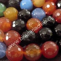 Agatas, Agata Multicolor tonos naranjos, azules y cafés, 14 mm de diámetro tira de  13 piedras aprox