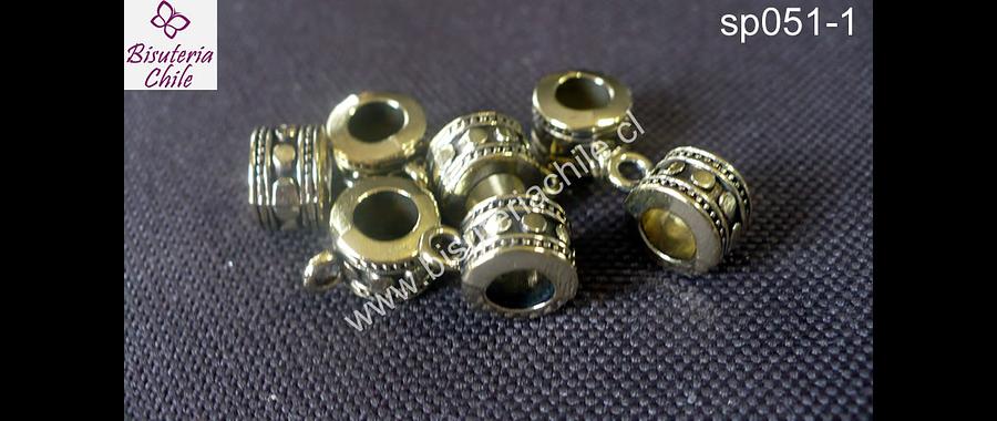 Separador dorado con argolla para dije 8 mm de diámetro y 5 mm de ancho, agujero de 5 mm set de 7 unidades