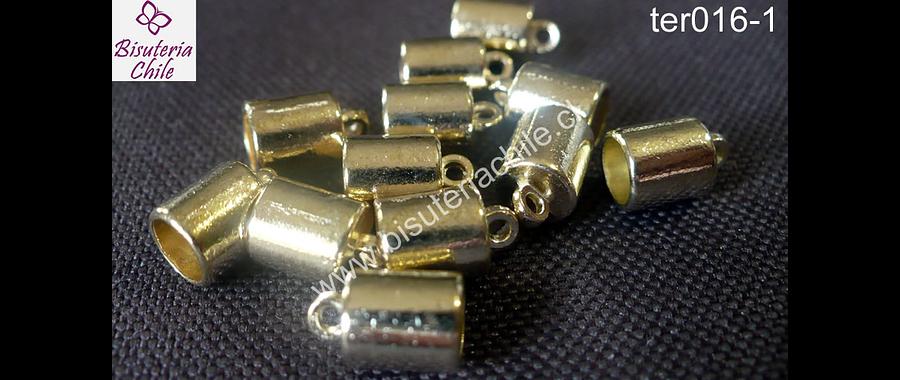 terminal dorado con argolla de enganche 7 mm de largo, 6 mm de ancho y agujero de 5 mm set de 12 unidades