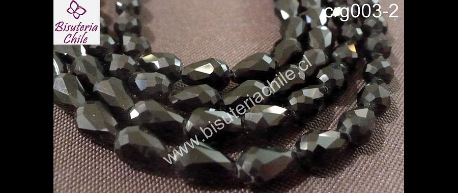 Cristal gota negro, 12 mm de largo por 8 mm de ancho, set de 15 unidades aprox
