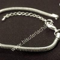 Pulsera, cadena tipo serpiente, especial para Pandora, cadena de 3 mm de grosor 17 cm de largo, más extensión de cadena ajustable