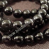 Onix negro 6 mm, tira de 62 piedras aprox