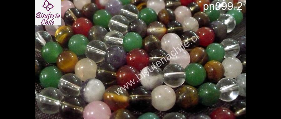 Piedra mix de 8 mm, trae cuarzo cristal, fume, rosadp, ojo de tigre, aventurina, amatista, cornalina, tira de 47 piedras