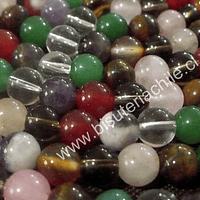 Piedra mix de 8 mm, trae cuarzo cristal, fume, rosadp, ojo de tigre, aventurina, amatista, cuarzo blanco, cornalina, tira de 48 piedras