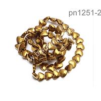 Hematite dorada en forma de corazón, 6 x 6 mm, tira de 35 unidades