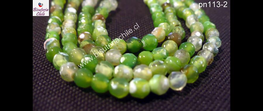 Agata 4 mm en tonos verdes claros, tira de 90 piedras aprox