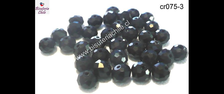Cristal negro facetado 8 mm de diámetro y 6 mm de ancho set de 70 unidades aprox