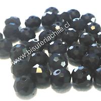 Cristal negro facetado 6 mm de diámetro y 4 mm de ancho set de 98 unidades aprox