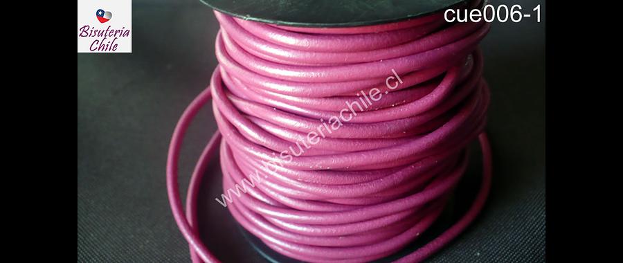 Cuero rosado oscuro 3 mm de ancho, por metro