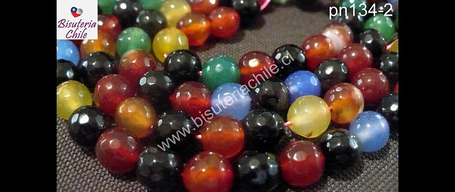 Agatas, Agata multicolor en tonos rojos, verdes y azules, 8 mm tira de 48 piedras aprox
