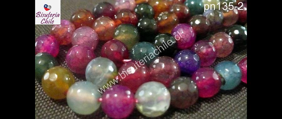 Agata multicolor en en tonos rosados, verdes y naranjas y celestes 8 mm tira de 48 piedras aprox