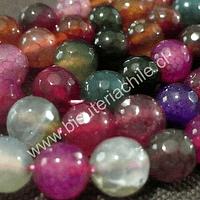Agata multicolor en en tonos rosados, verdes y naranjas, 8 mm tira de 48 piedras aprox