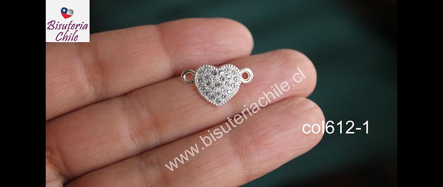 Colgante doble conexión con strass en forma de corazón, plateado, 20 x 12 mm, por unidad. San Valentin