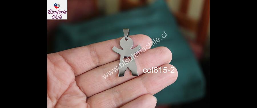 Colgante acero en forma de niño, 31 x 23 mm, por unidad