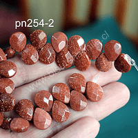 Piedra del soll en forma de gota facetada, 12 mm de largo x 10 mm de ancho, tira de 14 piedras