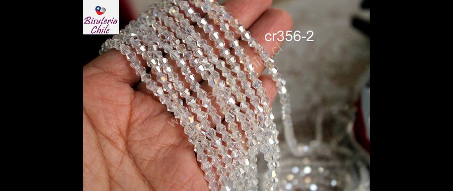 Cristal tupi transparente tornasol, 4 mm, tira de 75 cristales aprox