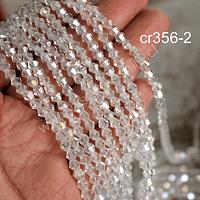Cristal tupi transparente tornasol, 4 mm, tira de 115 cristales aprox