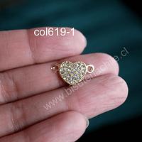Colgante doble conexión con strass en forma de corazón, dorado, 20 x 12 mm, por unidad