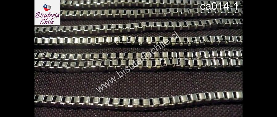 Cadenas, cadena plateada cuadrada 3mm por 3 mm , por metro