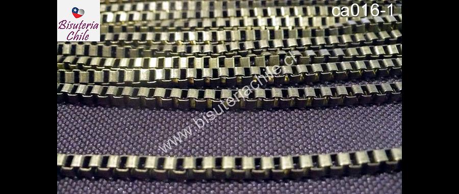 Cadenas, cadena envejecida cuadrada 3 mm por 3 mm , por metro