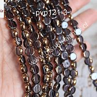 Perla de vidrio y cobre en color lila, 8 mm de diámetro, tira de 42 perlas