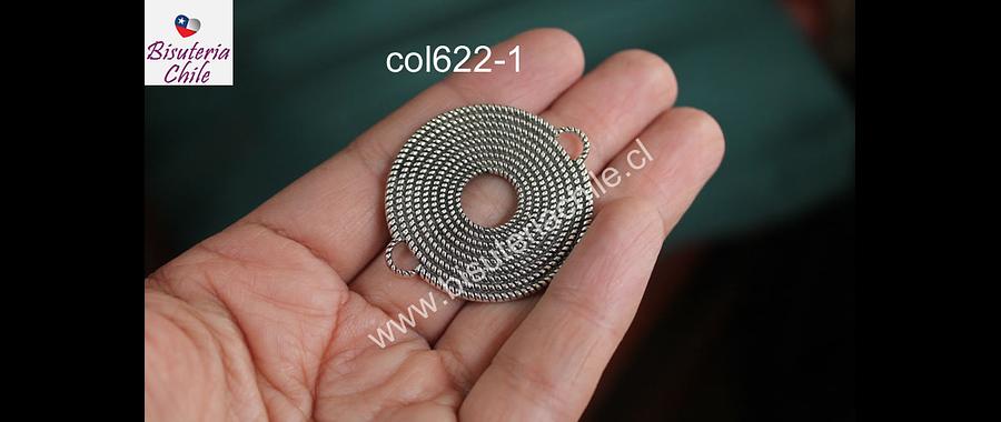 Colgante doble conexión plateado, 36 mm, de diámetro, por unidad