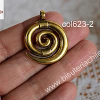 Colgante dorado estilo étnico, 35 x 28 mm, por unidad