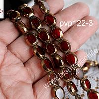 Cobre y vidrio en color rojo, 11 x 10 mm, tira de 24 perlas