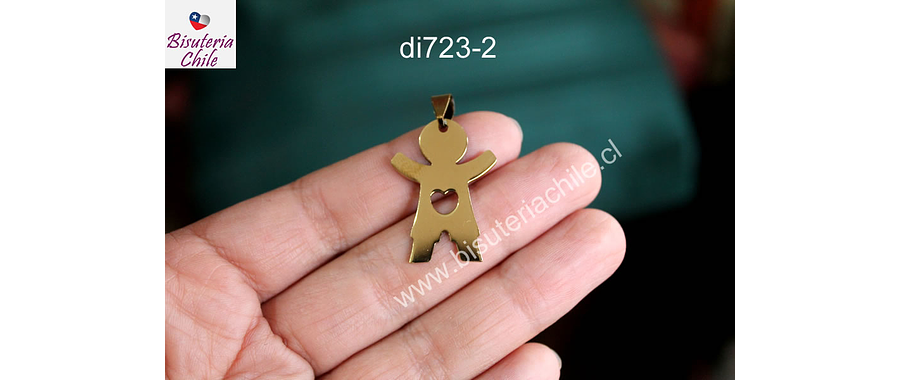 Colgante acero dorado en forma de niño, 31 x 23 mm, por unidad