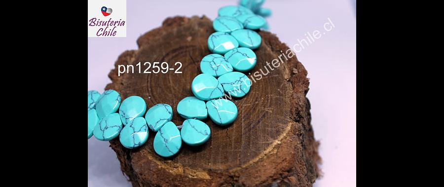 Turquesa en forma de gota facetada, 12 mm de largo x 10 mm de ancho, tira de 14 piedras