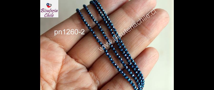 hematite facetada azul de 2 mm, tira de 190 piedras aprox