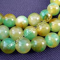 Jade liso pintado tonalidades verdes, 8 mm, tira de 48 piedras aprox
