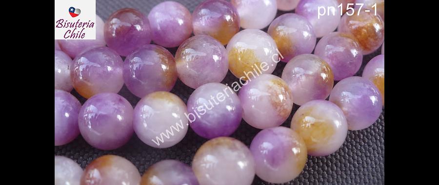 Jade liso pintado tonalidades lila y café, 8 mm, tira de 48 piedras aprox