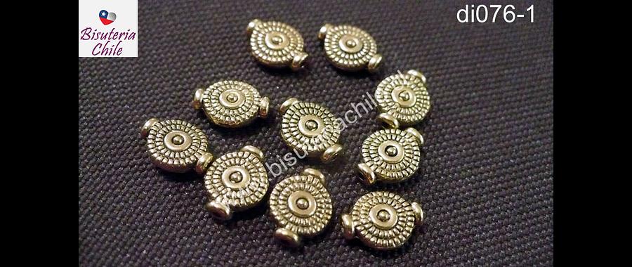 Separador dorado en forma de circulo aplanado  8 mm de diámetro set de 10 unidades