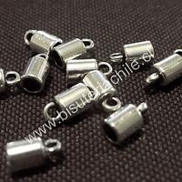 Terminal plateado con argolla de enganche 5 mm de largo, 4 mm de ancho y agujero de 3 mm set de 12 unidades