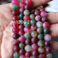 Agata frosting 8 mm, en colores rojos y verdes, tira de 45 piedras aprox