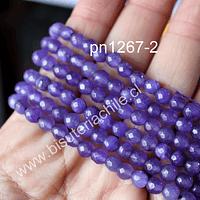 Agata de 6 mm en tono lila profundo, tira de 60 piedras aprox.