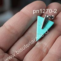 Dije de turquesa en forma de punta de flecha, 25 mm de largo x 16 mm de ancho, por unidad