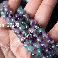 Piedra Agata de 8 mm en tonos lilas y verdes, tira de 47 piedras aprox
